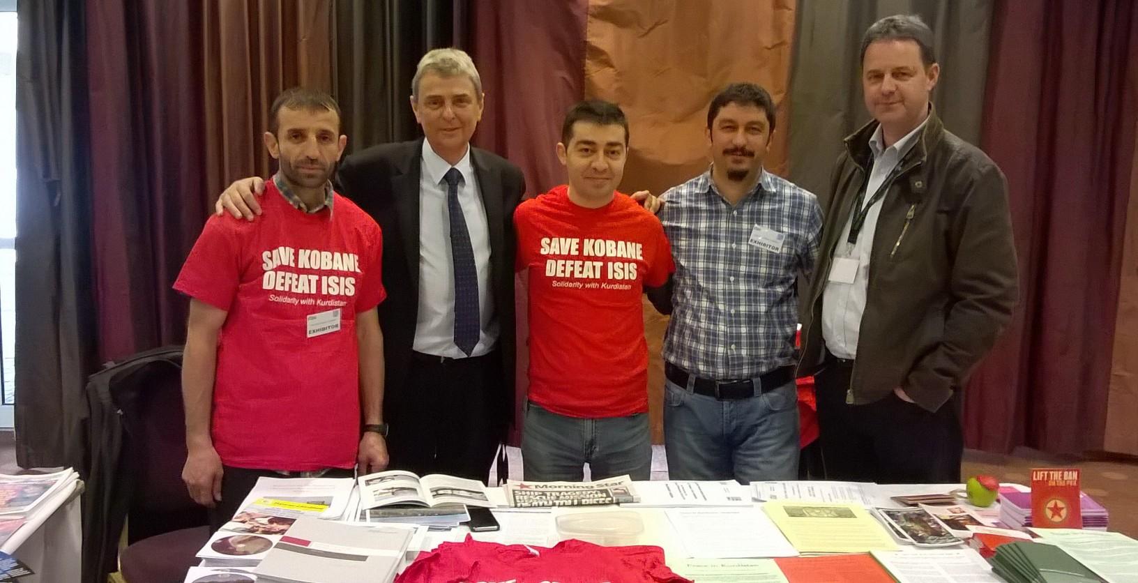 Kurdish activists with Stephen Smellie and UNISON general secretary Dave Parentis